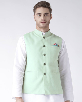 Shop Hangup Solid Casual Nehru Jacket-Front