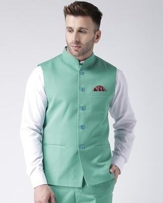Shop Hangup Solid Casual Nehru Jacket-Front