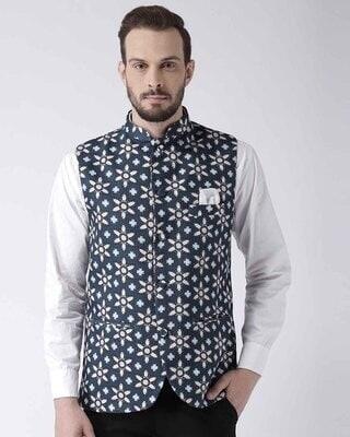 Shop Hangup Printed Casual Nehru Jacket-Front