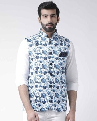 Shop Hangup Printed Casual Nehru Jacket-Front