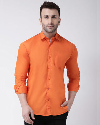 Shop Hangup Solid Casual Shirt-Front