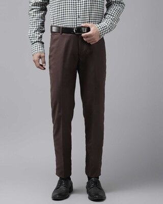 Shop Hangup Mens Brown Solid Casual Trouser-Front