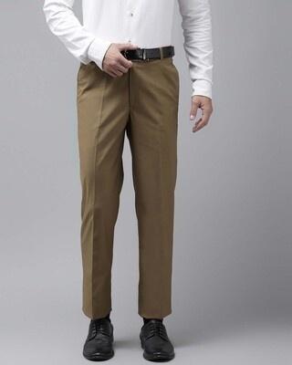 Shop Hangup Mens Khakhi Solid Casual Trouser-Front