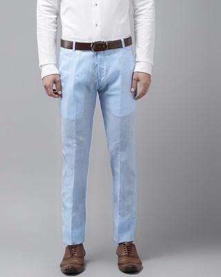 Shop Hangup Mens Linen Cotton Solid Casual Trouser-Front