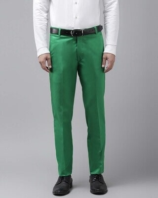 Shop Hangup Mens Green Solid Casual Trouser-Front