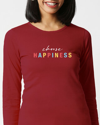 Shop Happiness Colorful Full Sleeves T Shirt-Front