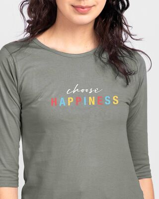 Shop Happiness Colorful Round Neck 3/4th Sleeve T-Shirt-Front