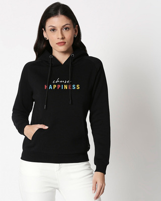 Shop Happiness Colorful Sweatshirt Hoodie Black-Front