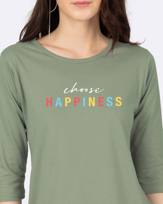 Shop Happiness Colorful Round Neck 3/4 Sleeve T-Shirts-Front