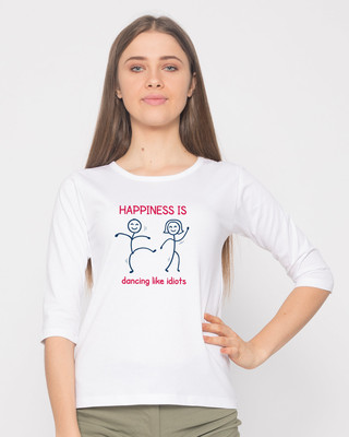 Shop Happiness Is Dancing Round Neck 3/4th Sleeve T-Shirt-Front