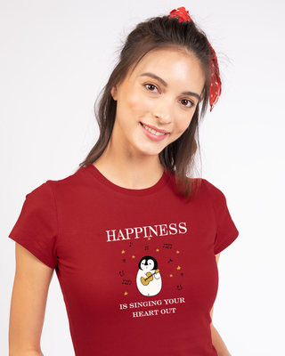 Shop Happiness-penguin Half Sleeve T-Shirt-Front
