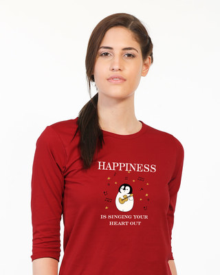 Shop Happiness-penguin Round Neck 3/4th Sleeve T-Shirt-Front