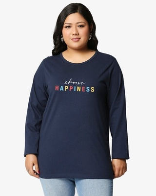 Shop Happiness Plus Size Colorful Full Sleeves T-Shirt-Front