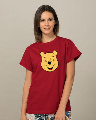 Shop Happy Pooh Boyfriend T-Shirt (DL)-Front
