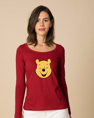 Shop Happy Pooh Scoop Neck Full Sleeve T-Shirt (DL)-Front