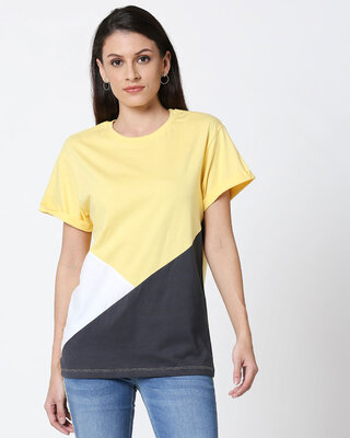 Shop Happy Yellow Color Block T-Shirt-Front