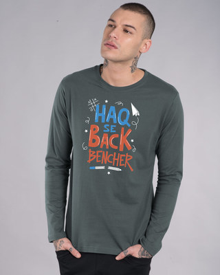 Shop Haq Se Back Bencher Full Sleeve T-Shirt-Front