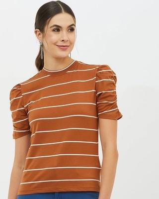 Shop Harpa Women High Neck Short Sleeves Striped T-shirt-Front