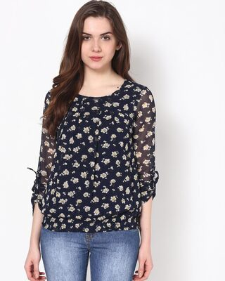 Shop Harpa Women Round Neck Full Sleeve Printed TOP-Front