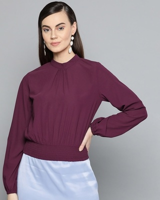 Shop Harpa Women Round Neck Full Sleeve Solid Top-Front
