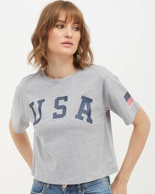 Shop Harpa Women Round Neck Short Sleeves Printed T-Shirt-Front