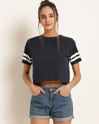 Shop Harpa Women Round Neck Short Sleeves Solid TOP-Front