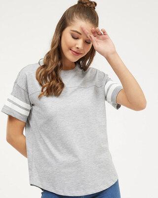 Shop Harpa Women round neck Short Sleeves Striped T-SHIRT-Front