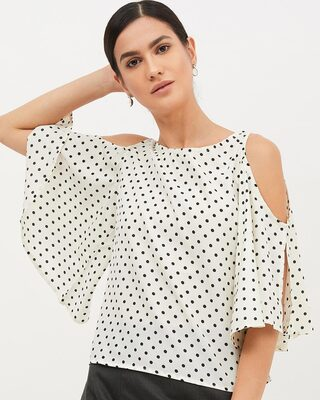 Shop Harpa Women Round neck Three-Quarter Sleeves Printed TOP-Front