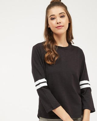 Shop Harpa Women round neck Three-Quarter Sleeves Solid T-SHIRT-Front