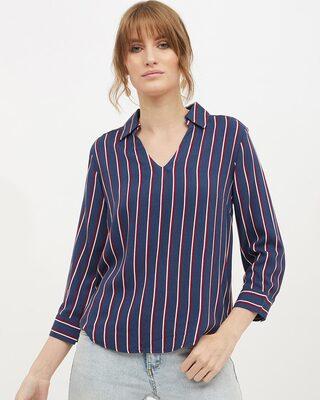 Shop Harpa Women shirt collar Full Sleeve Striped Top-Front