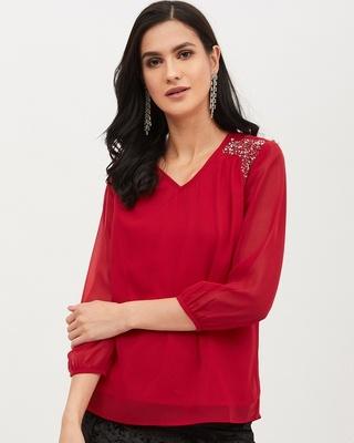 Shop Harpa Women V Neck Three-Quarter Sleeves Solid Top-Front