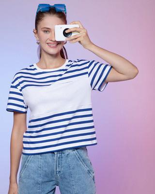 Shop Hashtag Blue Color Block Stripe Short Top-Front