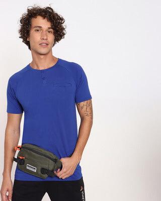 Shop Hashtag Blue Henley T-Shirt-Front