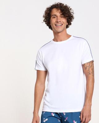 Shop Hashtag Blue Shoulder Piping  T-shirt-Front