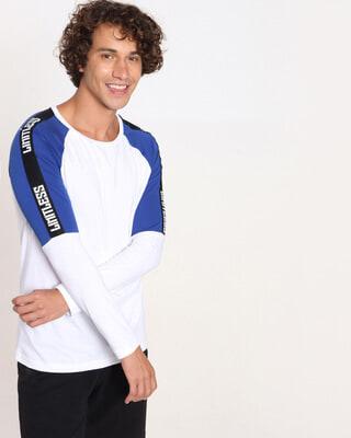 Shop Hashtag Blue Shoulder Tape Color Block T-Shirt-Front