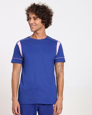 Shop Hashtag Blue Sport Trim T-Shirt-Front