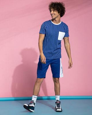 Shop Hashtag Blue Stripe Pocket T-Shirt-Front