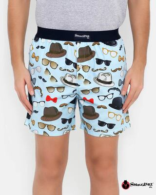 Shop Smugglerz Hat & Glasses Printed Men's Boxer-Front