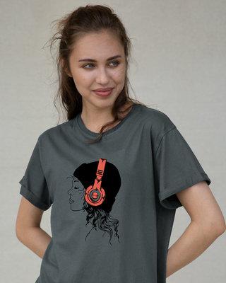 Shop Headphone Girl Boyfriend T-Shirt-Front