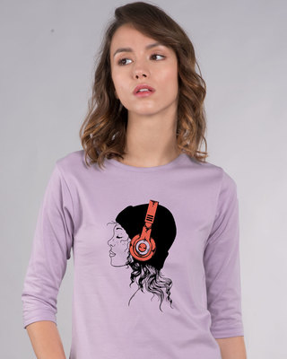 Shop Headphone Girl Round Neck 3/4th Sleeve T-Shirt-Front