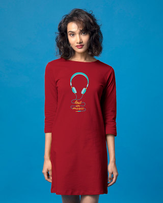 Shop Headphone Music Boat Neck 3/4th Sleeve T-Shirt Dress-Front