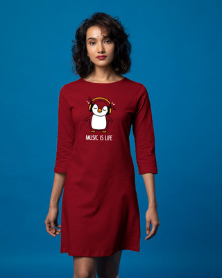 Shop Headphone Penguin Boat Neck 3/4th Sleeve T-Shirt Dress-Front