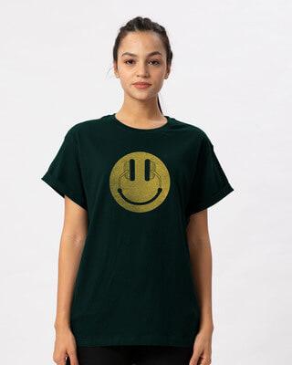 Shop Headphone Smiley Boyfriend T-Shirt-Front