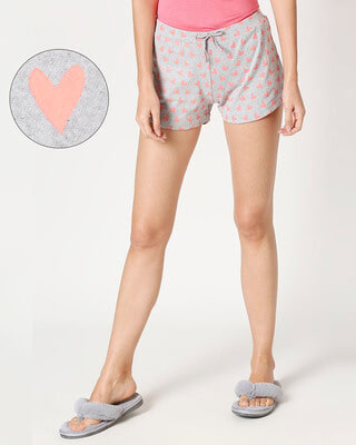Shop Women's Hearts Printed  Grey Lounge Boxers-Front
