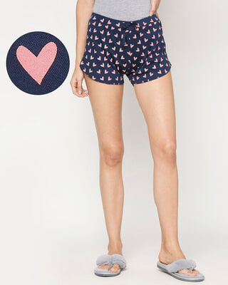 Shop Women's Hearts Printed  Blue Lounge Boxers-Front