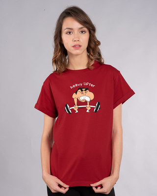 Shop Heavy Lifter Shinchan Boyfriend T-Shirt (SHL)-Front