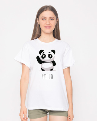 Shop Hello Panda Boyfriend T-Shirt-Front
