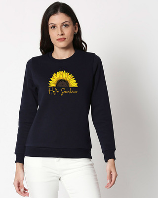 Shop Hello Sunshine Fleece Sweater Navy Blue-Front
