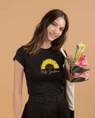 Shop Hello Sunshine Half Sleeve Printed T-Shirt Black-Front