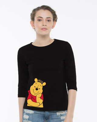 Shop Hellow Pooh Round Neck 3/4th Sleeve T-Shirt (DL)-Front